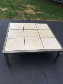 Outdoor aluminum marble top coffee table