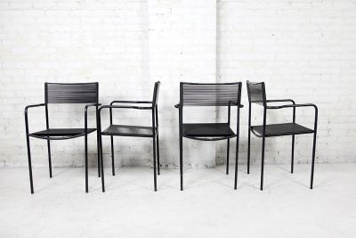 4 mid century modern Italian black chairs