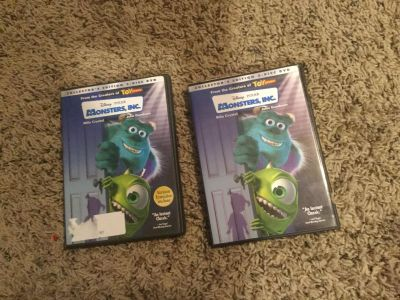 Two different Monster s Inc full length dvd sets. EACH set $6.00 or $10.00 takes both.