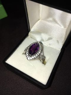 Gorgeous authentic Natural amethyst/diamond Sterling silver ring