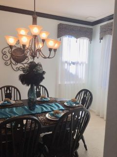 Farmhouse pedestal table and 6 chairs