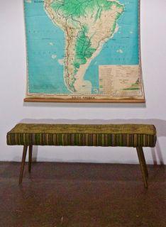 Handmade Midcentury Upholstered Modern Bench