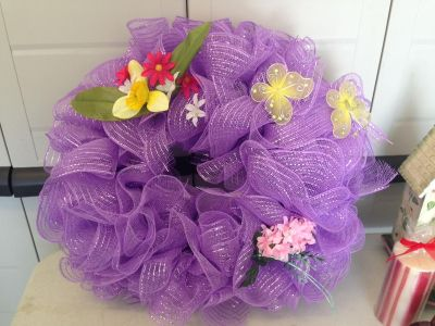 Purple mesh wreath with butterflies and flowers