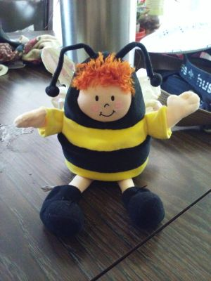 Adorable bumble bee plush with crinkly wings