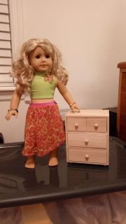 """American Girl & 18"""" doll wooden 4 drawer dresser (unfinished wood). Used in an American Girl sized doll house. DOLL NOT INCLUDED"""