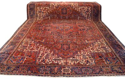 "10' x 13'4"" Antique Heriz Geometric Area Rug"
