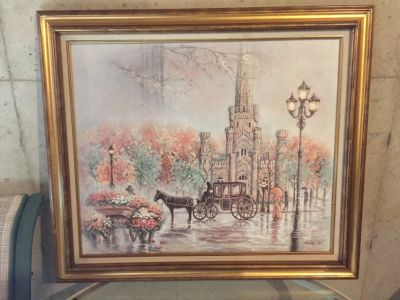 Oil painting old Chicago water tower