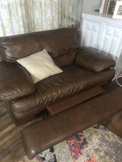 Leather couch and leather recliners