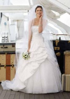 $400 OBO ivory organza strapless bridal gown
