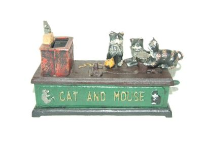 Vintage Cat And Mouse Mechanical Cast Iron Coin Bank
