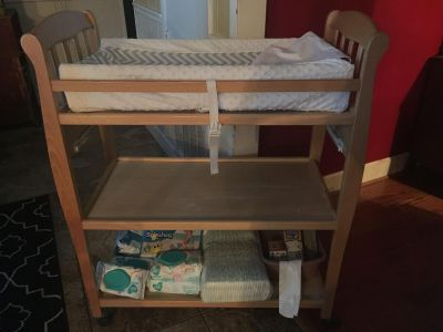 Wood Changing Table on Wheels with Pad