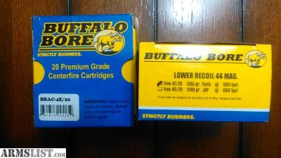 For Sale/Trade: 35 rounds of Buffalo Bore Lower Recoil .44 Magnum ammo- 255 gr. Keith - G.C. (1,350 fps/M.E. 1,032 ft.lbs.) (Item 4E)