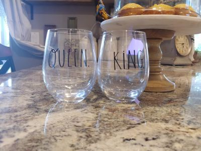 Rae Dunn glass wine glasses. Set of two