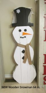 Wooden Snowman 64 in. NEW