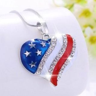 A Beautiful 10K Silver Clad Heart-shaped Flag Necklace