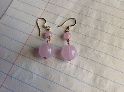 Purplish pink bead earrings