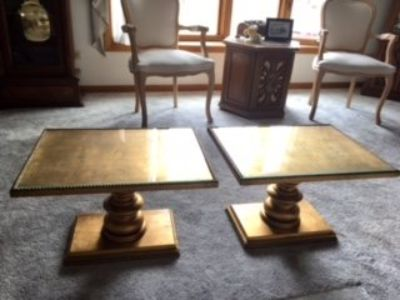 Two Vintage Gold-Toned Tables