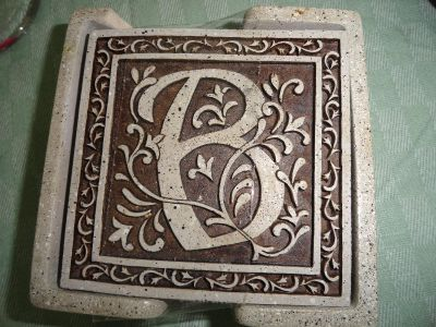 SET OF 4 ''B'' STONE COASTERS (MOTHER'S DAY)