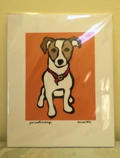 "Jack Russell on Orange - Matted Print - 8"" x 10"""