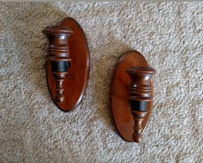 Vintage wood and wrought iron wall sconce candle holders