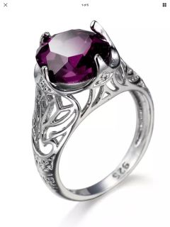 Silver layered purple cubic zirconia ring size 8 new