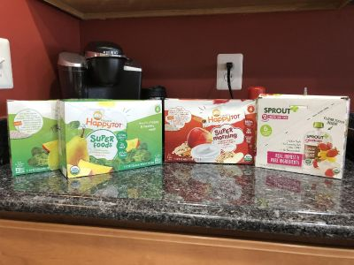 Organic baby food pouches