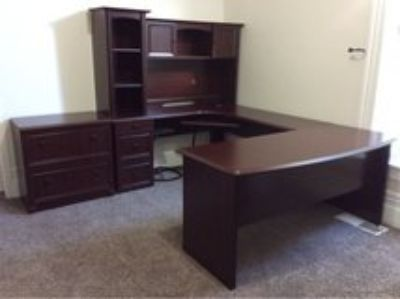 Large Office Desk and Filing Cabinet/Printer Stand