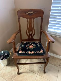 Antique wooden chair, decorative stitched seat