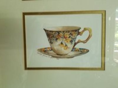3 teacups picture matted and framed
