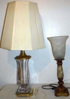 Lamp w/Glass Shade -OR- Vintage Crystal Lamp