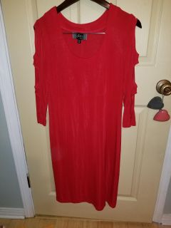 Red Scoop Neck Peek-A-Boo Sleeve Dress - Medium