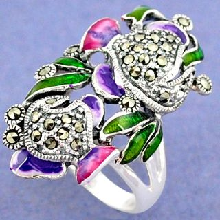 New - Green, Pink and Purple Enamel and Marcasite 925 Sterling Silver Ring- Size 7