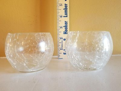 Two crackle Votive Candle Holders
