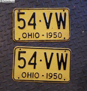 "1954 Ohio License Plates ""54 VW"""