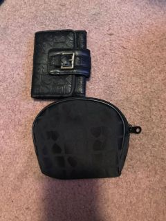 Black hearts wallet and cosmetic case