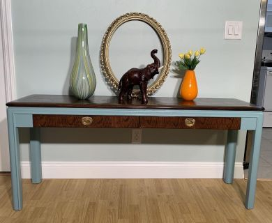 Solid Wood Refinished Console Table With Storage Drawers