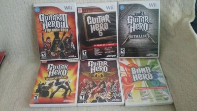6 Wii Guitar Hero & Band games. All in excellent condition. See desc.