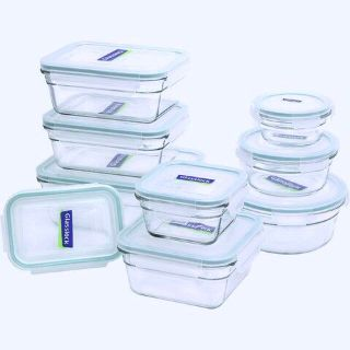 18-Piece Glasslock Assorted Size Storage Container Set - 9-Glass Storage Containers/9-Matching Lids