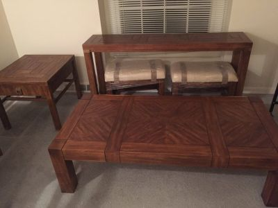 Dark Oak sofa table with stools, coffee table and end table