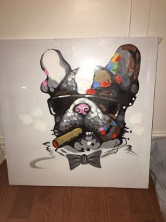 New - Fokenzary Hand Painted Bulldog Boss Smoking Cigar - Canvas Frame - Ready to Hang