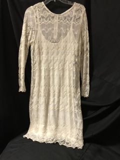New winter white sheath dress with lace overlay $35.00.