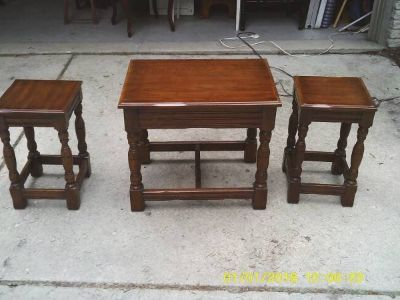 3 TABLES ALL WOOD DAVIS FURNITURE CO.