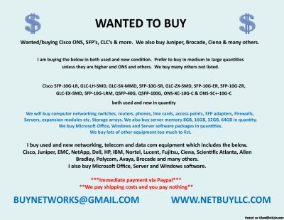 -$$ WANTED - WE ARE BUYING > WE BUY USED AND NEW COMPUTER SERVERS, NETWORKING, MEMORY, DRIVES, CPU S, RAM & MORE DRIVE STORAGE ARRAYS, HARD DRIVES, SSD DRIVES, INTEL & AMD PROCESSORS, DATA COM, TELECOM, IP PHONES & LOTS MORE