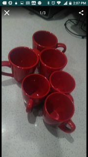 6 red coffee cups