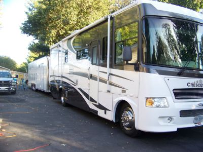 motor home and trailer