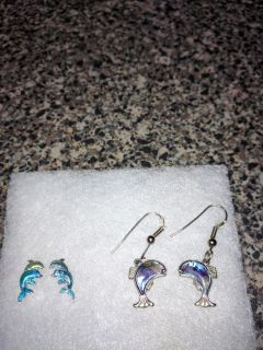 2 Pair Cute Dolphin Earrings! Excellent Condition.