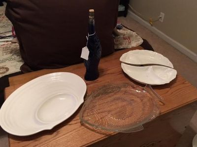 serving pieces and blue fish accent bottle