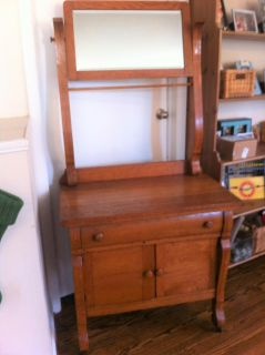 Antique Wooden Wash Stand Cupboard with Mirror
