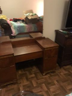 Dresser and two side tables and vanity with commode