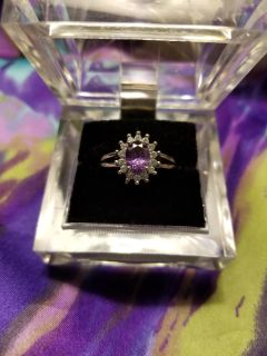 NEW Size 8 Oval Cut February Amethyst CZ .925 Sterling Silver Ring
